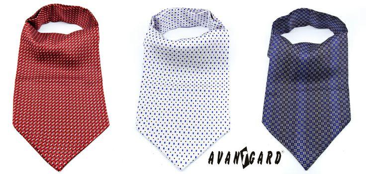 Červená, šedá a modrá kravatová šála (askot) AVANTGARD /// Red, grey and blue tie a scarf - ascot AVANTGARD