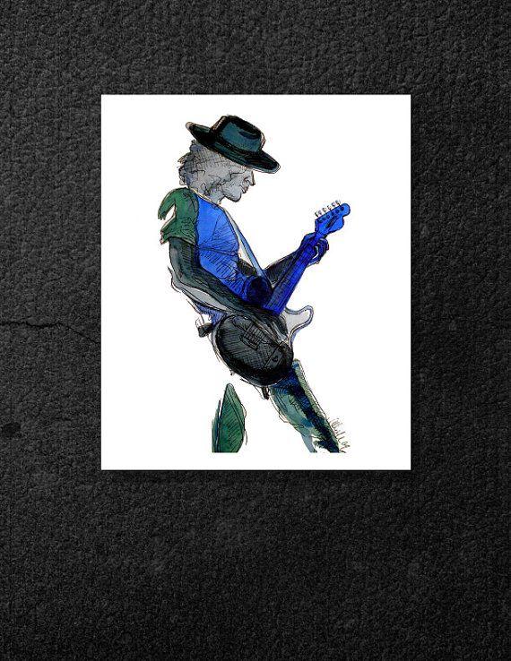 8x10 Canvas - Feeling the Blues - Guitarist - Guitar - Blues - Music - Watercolor