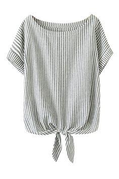 ROMWE | ROMWE Self-tie Bowknot Striped Rolled-cuffs Loose Bowknot, The Latest Street Fashion