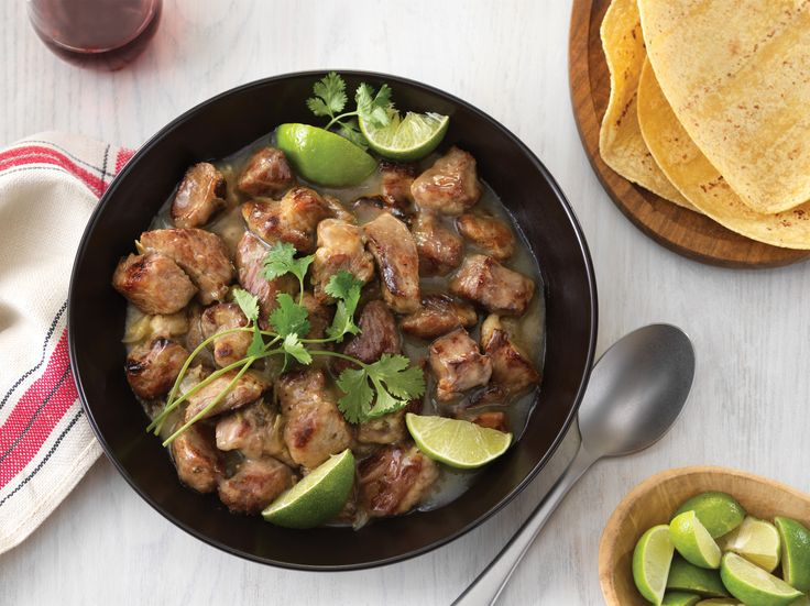 In Mexico, pork is often cooked with lime and served with more lime. This very flavorful, stew-like dish can be served with hominy, rice, or potatoes. You