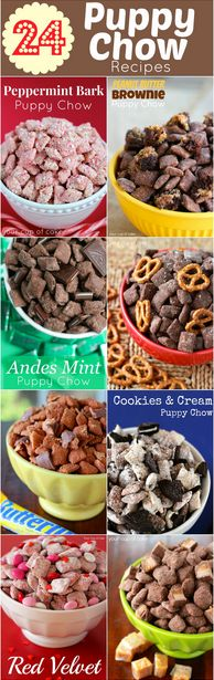 I found a bunch of these cute 'Puppy Chow' Recipes on www.yourcupofcake.com. I love this site! Here's the link: http://www.yourcupofcake.com/2013/12/24-puppy-chow-recipes.html