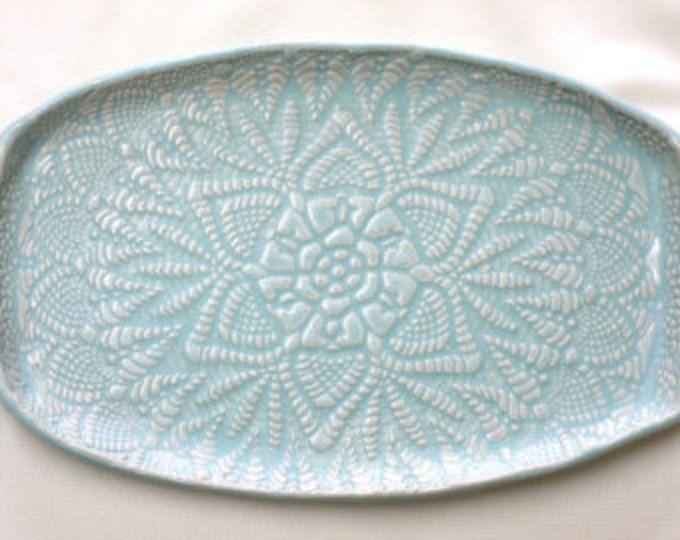 Placa de cerámica aperitivo bandeja - Seafoam Green Lace - cerámica hecha a mano - bandeja de la porción