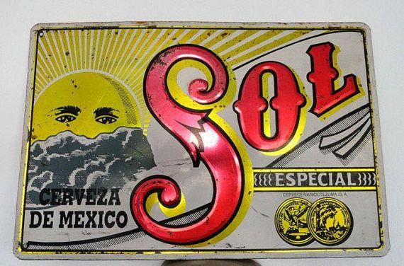 """Targhe e insegne pubblicitarie """"Vintage anni cinquanta Cerveza Sol birra Store pubblicità Rare segno metallo Bar"""""""