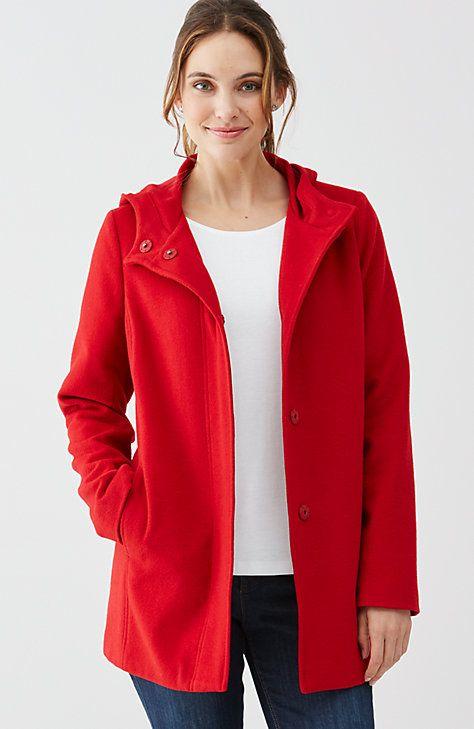 hooded wool-blend coat