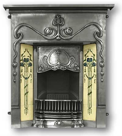 "Art Nouveau Combination Fireplace  ""The Valentine"" is a reproduction of a Complete Cast Iron Fireplace in the Art Nouveau Style c 1900. It has a prominent canopy with typical Nouveau detail and the frieze has a large pomegranate detail extending down the legs. It also has a set of serpentine bars."