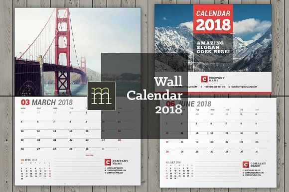 Wall Calendar 2018 (WC26) by mikhailmorosin on @creativemarket