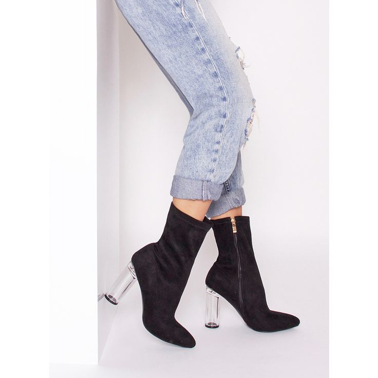 Zanna Black Suede Transparent Heel Ankle Boots : Simmi Shoes