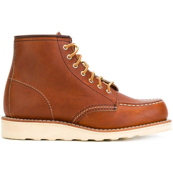 Red Wing Shoes lace-up loafer boots (440 CAD) ❤ liked on Polyvore featuring shoes, boots, brown, leather shoes, lace up boots, laced up boots, real leather boots and brown leather lace up boots