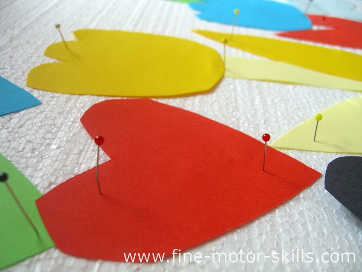 Pushpins and styrofoam play for fine motor skills improvement