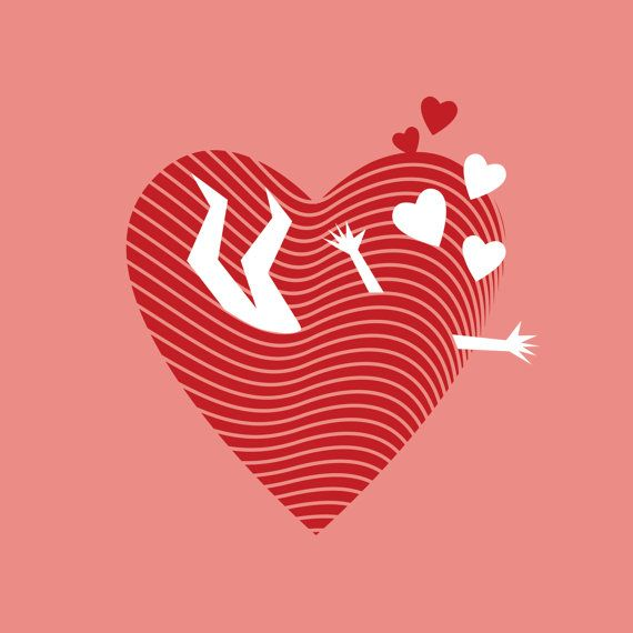 День Святого Валентина, Открытка, Валентинка, Принт, Надпись, Леттеринг, Сердце, Любовь, Красный, День влюбленных,