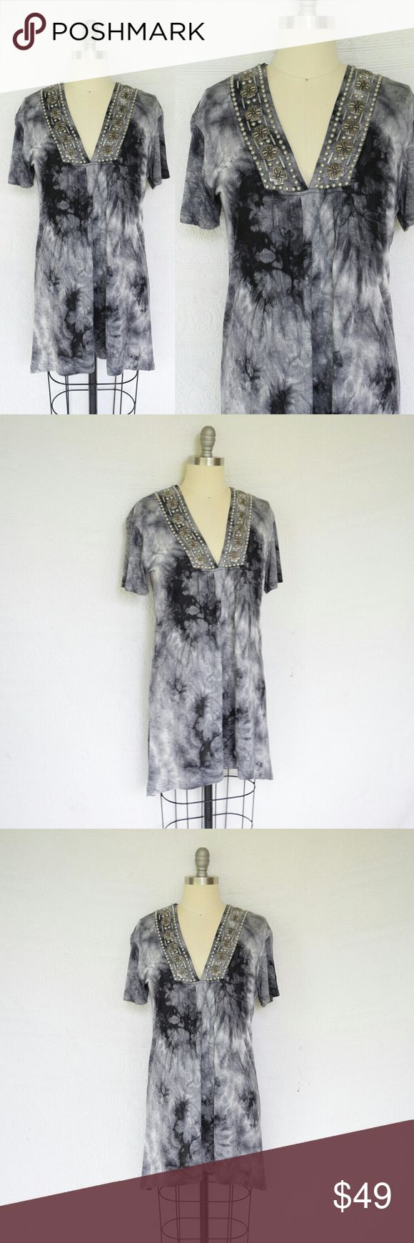 Double D Ranch Sangre de Cristo tee tunic blouse Super cool Double D Ranch Sangre de Cristo tee in get a little twisted. Awesome tie dye pattern in Greys & Black. Beautiful Concho like beading and studs on the neckline. Longer tunic design. New with tags $150 double d ranch Tops Tunics