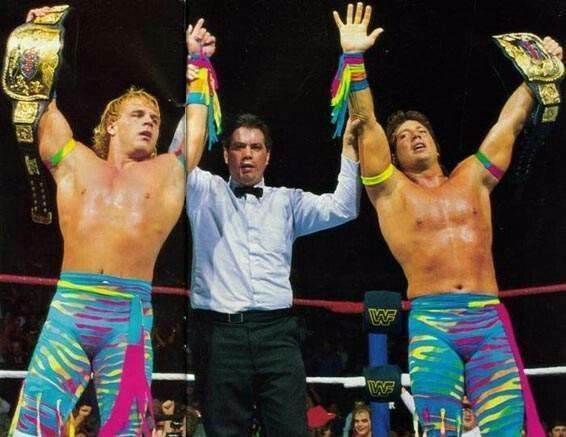 The Rockers - Shawn Michaels and Marty Jannetty after winning the WWF Tag Team Championship.