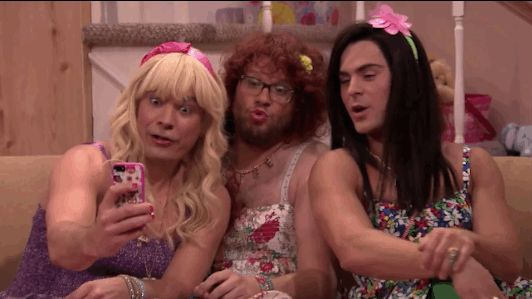 They all took selfies. | Zac Efron And Seth Rogen Turn Into Teenage Girls With Jimmy Fallon