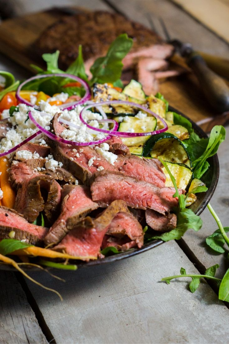 Grilled Flank Steak Farmers Market Salad  Get the full recipe! http://steakbytes.com/recipes/grilled-flank-steak-farmers-market-salad/