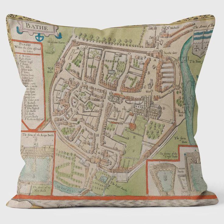 1680 Bathe Map - British Library Cushions