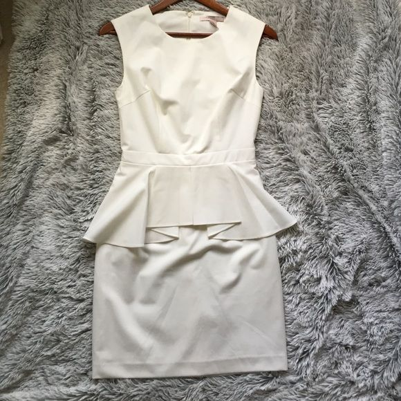 White Peplum Dress small Forever21 white peplum dress. Size small. Knee length. Only wore once! Great condition and so flattering Forever 21 Dresses