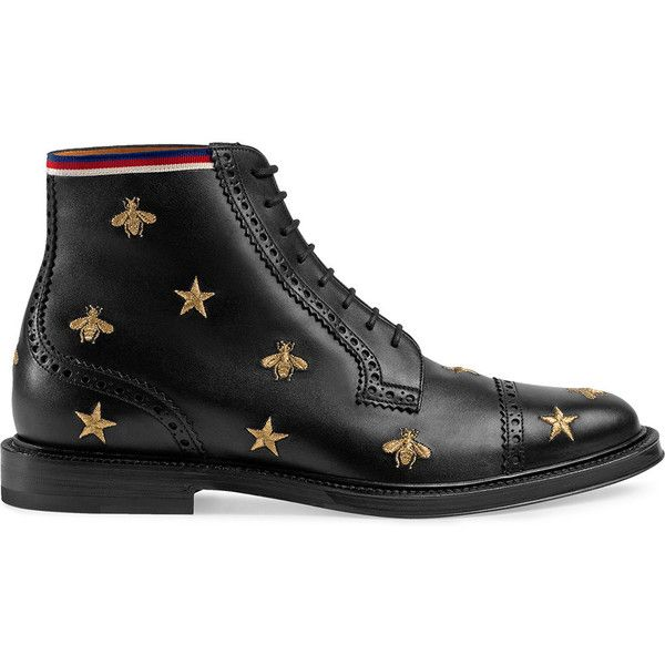 Gucci Leather embroidered brogue boot ($1,550) ❤ liked on Polyvore featuring men's fashion, men's shoes, men's boots, black, mens leather brogue boots, mens black shoes, mens leather lace up boots, mens flat shoes and mens black brogue boots