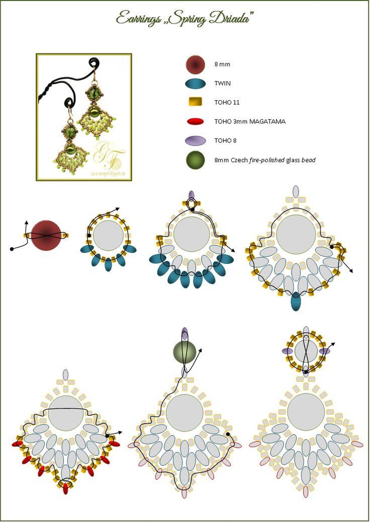 SPRING DRIADA Earrings   FREE Pattern by Gunta - featured in recent Sova-Enterprises.com Newsletter!