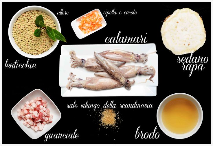 vellutata di lenticchie con calamari e guanciale croccante
