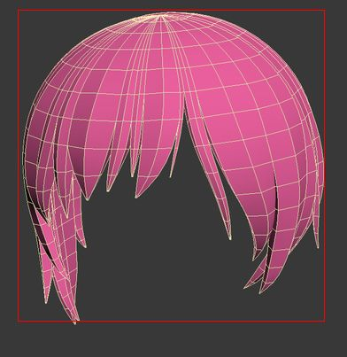 3d anime hair. forelock. 3ds max.