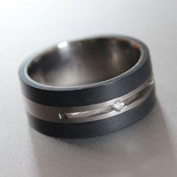 black titanium and diamond ring