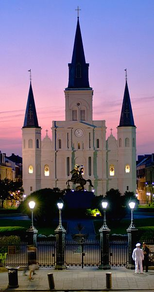 That's the St. Louis Cathedral in the distance. Built in 1850 as an expansion to the 1789 structure.  It was slightly damaged during Hurricane Katrina, but like all things in New Orleans, it too managed to weather the storm.
