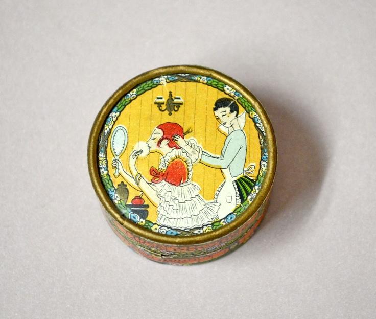 1920s Powder Box Art Deco Three Flowers Face Richard Hudnut Tiny Miniture Sample.  via Etsy.