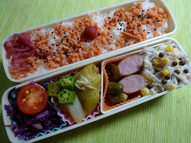 - Salmon Flakes on Rice  - Tomato and Purple Cabbage  - Boiled Eggplant, Radish and Okra in Soy Sauce Soup  - Pickles and Pork Sausage  - Potato Salad with Corn, Onion, Tuna and Pepper Seeds