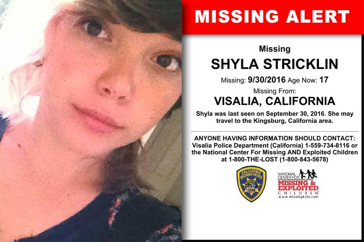SHYLA STRICKLIN, Age Now: 17, Missing: 09/30/2016. Missing From VISALIA, CA. ANYONE HAVING INFORMATION SHOULD CONTACT: Visalia Police Department (California) 1-559-734-8116.