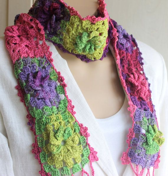 Hand Crocheted Pink Green Purple Scarf / Women by BYBERRDESIGNS, $32.50
