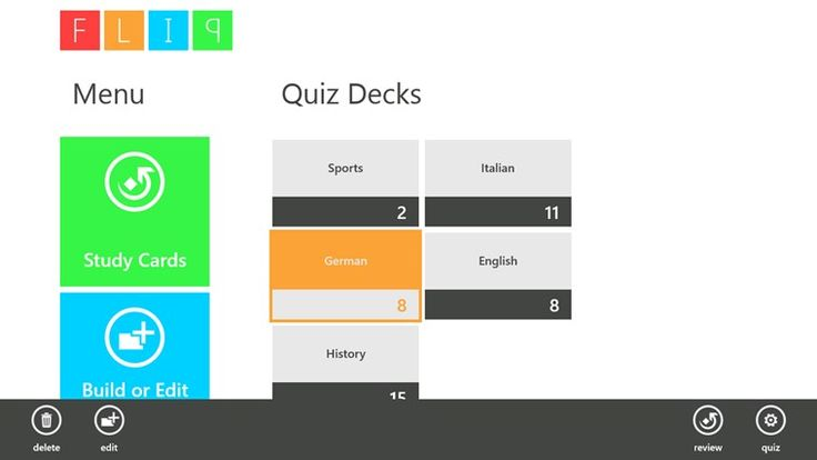 FLIP for Windows8 // FLIP is a free flashcard program designed to be a simple, yet functional, quizzing program. Even in this early stage FLIP is a powerful learning tool. FLIP gives the user the ability to create, review, quiz and examine the results of custom quizzes.