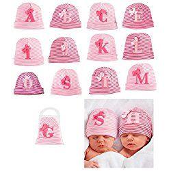 Mudpie Baby Girl's Initial Newborn Hat, Pink, L