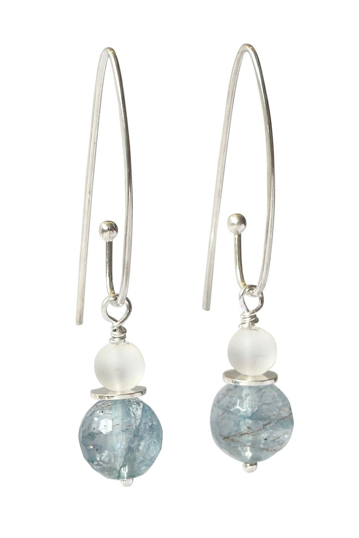 Oceania earrings - Blue quartz crystal with frosted clear quartz and sterling silver long hooks. http://chrisbohan.com/collections/earings/products/oceania-earring-long-hook