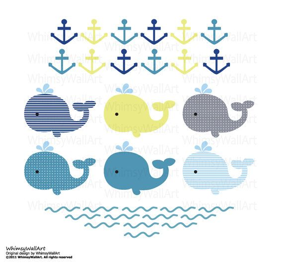 Baby Nursery Pattern Whales Waves and Anchors  by WhimsyWallArt