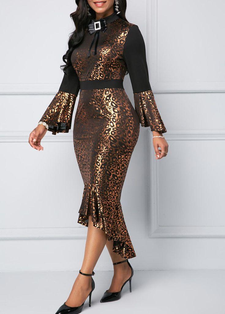 Flare Sleeve Frill Hem Leopard Print Sheath Dress Rotita