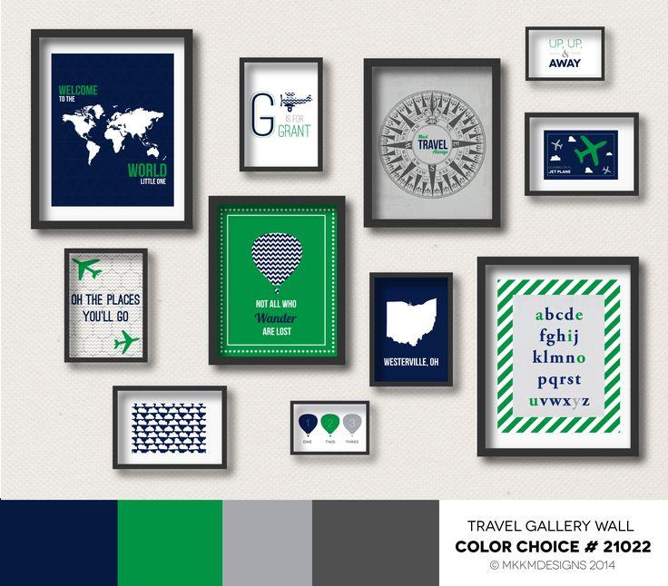 Travel Nursery Gallery Wall - Color Choice #21022 | Kelly Green, Navy, Gray. Boys Bedroom