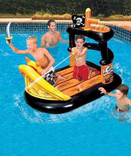 Kid 39 s pirate ship inflatable float with blaster water gun - Inflatable pirate ship swimming pool ...