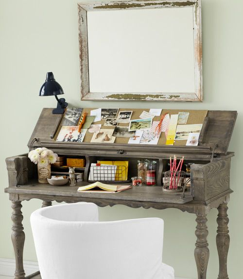 love.  This handsome hideaway desk from Kincaid Furniture begs to differ. ($1600)    #furniture #smallspace #decorating
