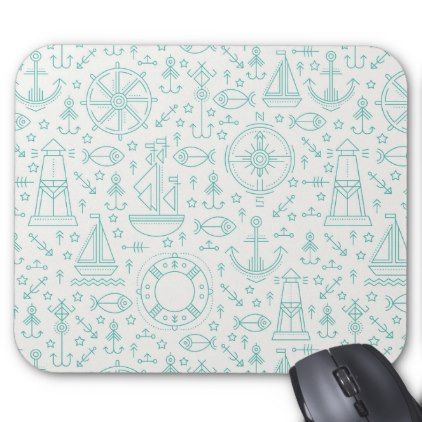 Nautical pattern light green mouse pad - baby gifts child new born gift idea diy cyo special unique design