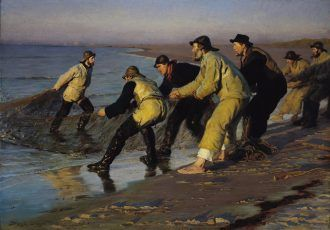 P.S Krøyer: Fishermen hauling a net at the North Beach. Late afternoon. 1883    Skagens Kunstmuseer    Art Museums of Skagen