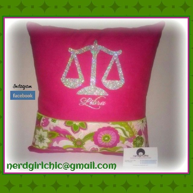 Scales of Justice pink and green pillow