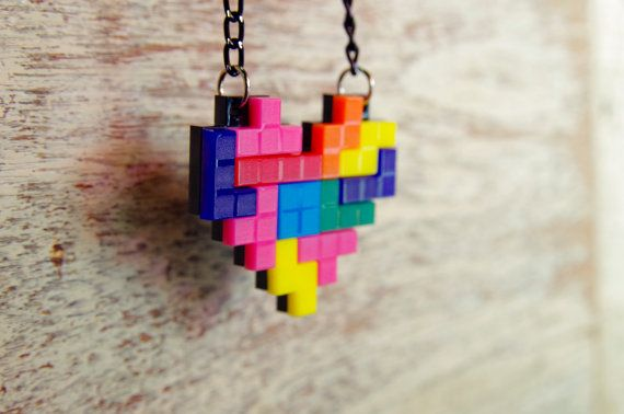 Tetris Heart Acrylic Plastic Pixel Pendant Necklace for couple and gamer 8 bits design for gamer