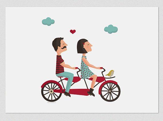 Illustration. Tandem Love 1. Wall art 8x11.5 by Tutticonfetti, $19.75