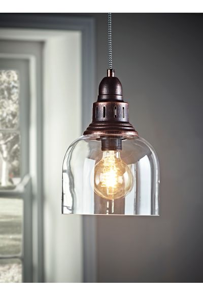 NEW Antique Copper and Glass Pendant - Lighting