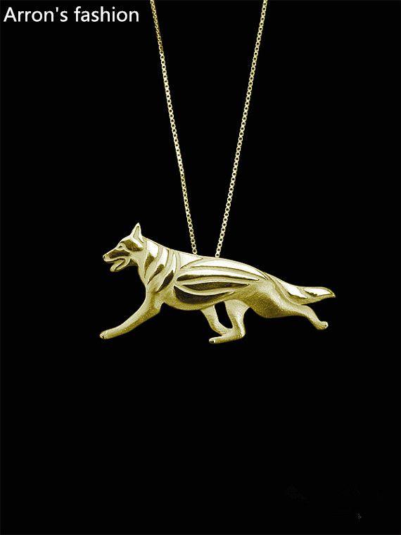 Модный Немецкий Пастух ожерелье женщины золото серебро собака ювелирные изделия себе ожерелье мужчины cs ходу интернет магазины индии купить на AliExpress
