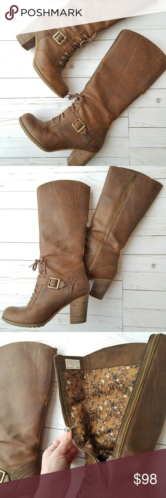 """Timberland Trenton Side Zip Boots Well loved but with lots of life left.  Incredibly hard to find; hence the pricing.  3"""" heel and 17"""" total height   Genuine leather of course and amazing interior pattern. Note that stock photos are same boot but different color. Timberland Shoes Heeled Boots"""