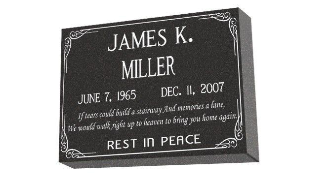 MF01 - Granite marker for cemetery or garden. Standard design