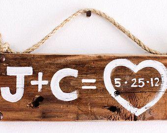 Bruiloft Decoratie liefde teken teruggewonnen hout strand