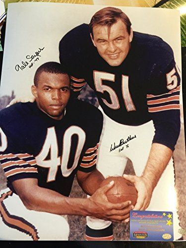 Dick Butkus Gale Sayers Chicago Bears Dual Signed Autographed 16x20 Photo Moutned Memories