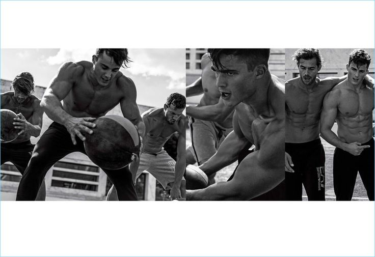 Pietro Boselli, Jacey Elthalion, and Michael Lewis work out with EA7 for spring-summer 2017.
